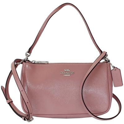 COACH乾燥玫瑰色亮面漆皮肩背/斜背兩用小包