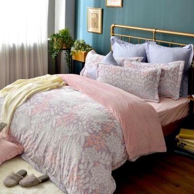 義大利La Belle 花影盛宴 加大立體雪雕絨防蹣抗菌吸濕排汗被套床包組