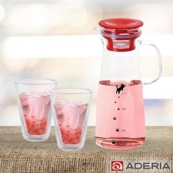 ADERIA 日本貓咪耐熱玻璃把手冷水壺900ML(兩色)附雙層玻璃杯250ML-2入