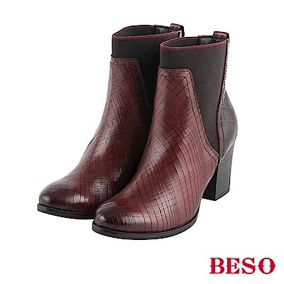 BESO前衛風範 鬆緊帶拼接粗跟短靴~酒紅