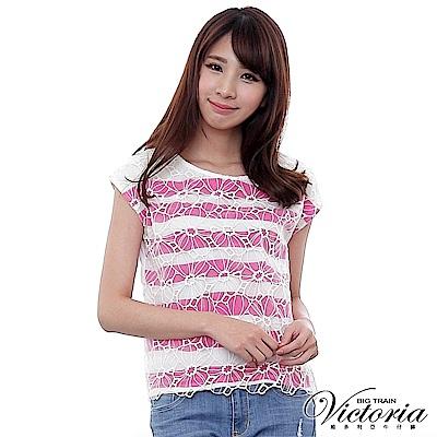 Victoria 透視花朵印條寬鬆落肩短袖T-女-白底紫紅
