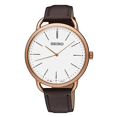 SEIKO 紳士情人皮革時尚腕錶/38mm/6N01-00A0K/SUR234P1