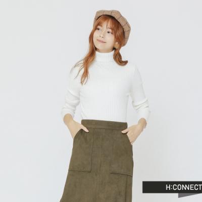 H:CONNECT 韓國品牌 女裝 - 高領坑條針織上衣-白(快)