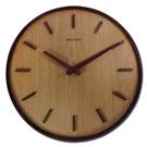 14吋 居家擺飾 輕薄簡約 挪威森林 木紋質感 餐廳客廳臥室 靜音 圓掛鐘 - 原木色
