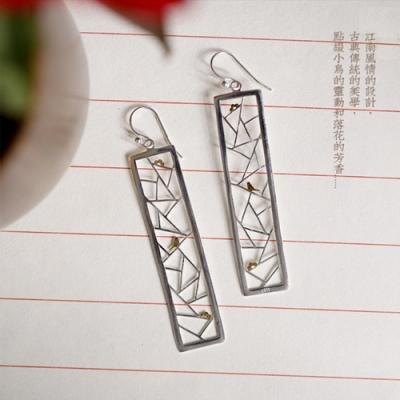 東方美學古典江南風情鏤空花窗花鳥純銀耳環-設計所在