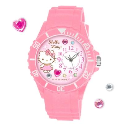 Sanrio三麗鷗 貼鑽系列運動彩帶錶 Hello Kitty凱蒂貓40mm粉紅色