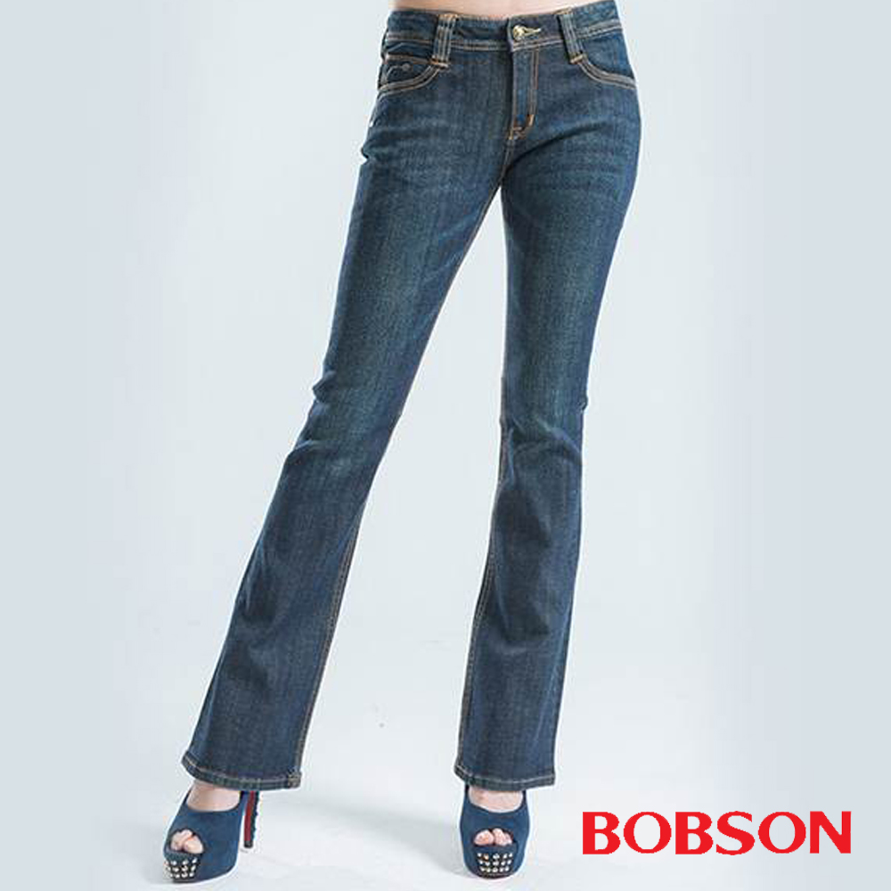 BOBSON V型鑽飾小喇叭褲-藍色