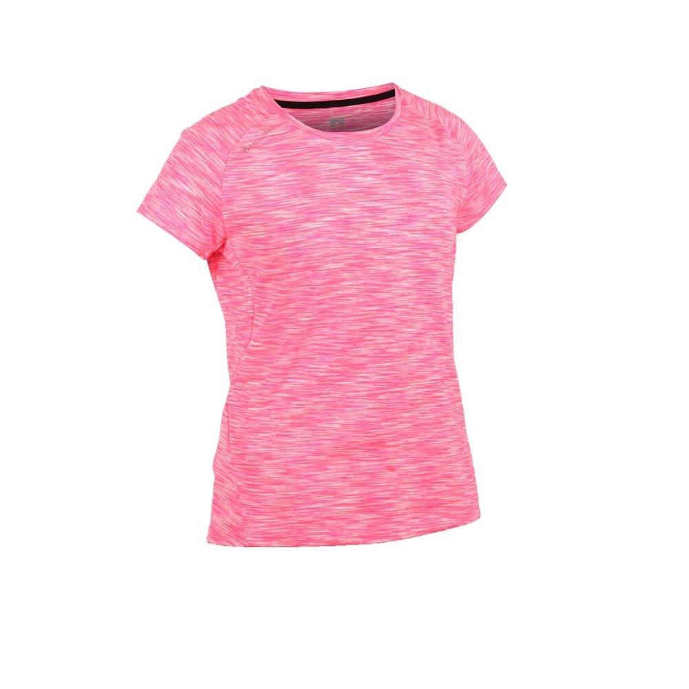 FIRESTAR 女彈性短袖圓領T恤-慢跑 路跑 螢光粉白