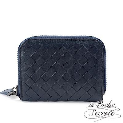 La Poche Secrete 編織小羊皮拉鍊卡夾包-深靛藍