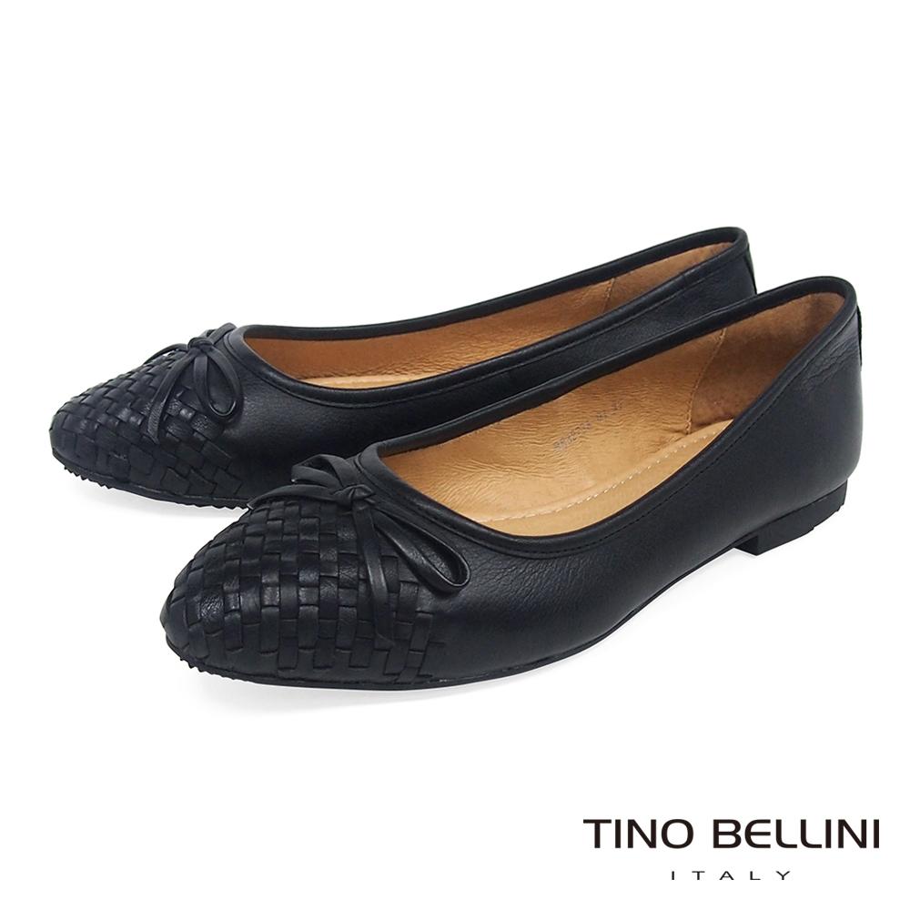 Tino Bellini 細緻皮革編織小蝴蝶結娃娃鞋 _ 黑