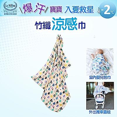 【La Millou】嬰兒包巾_竹纖涼感巾-繽紛萌萌豬