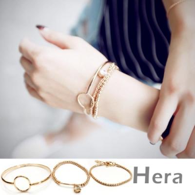 Hera赫拉- 金屬幾何多層次大水鑽手環手鐲手鍊-三件組(魅影金)