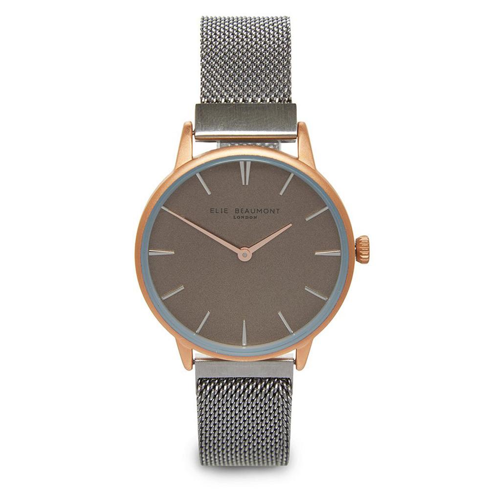 Elie Beaumont 英國手錶 牛津米蘭磁性錶帶系列 深灰錶盤錶帶x玫瑰金框33mm