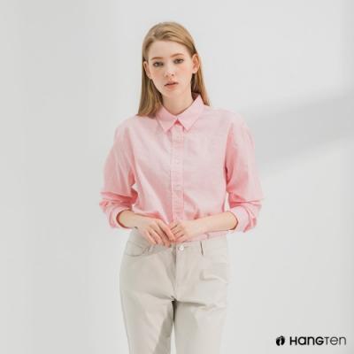 Hang Ten-女裝-A-line版型長袖襯衫-粉色