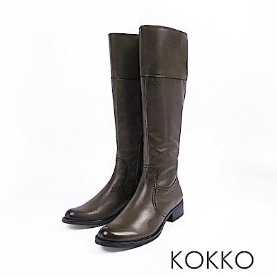 KOKKO-精品質感擦色牛皮粗跟長靴-灰綠