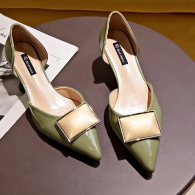 KEITH-WILL時尚鞋館 韓式名媛優雅復古英倫尖頭跟鞋-綠