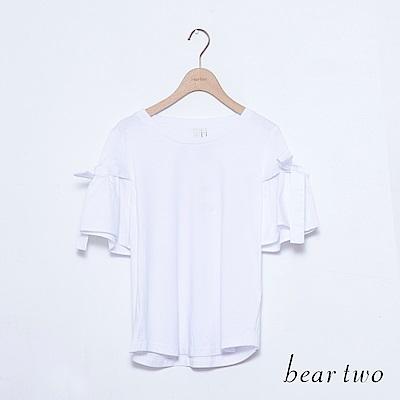 beartwo 荷葉綁帶寬袖素面上衣(二色)