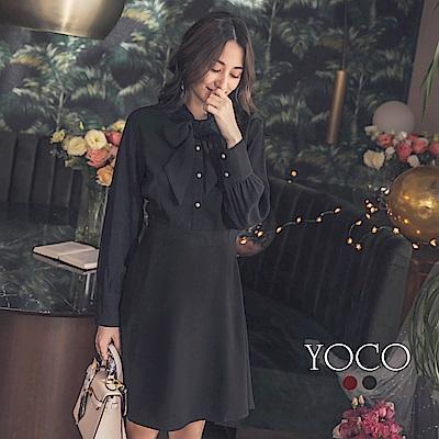 東京著衣-yoco 優雅首選領結綁帶珍珠釦修身洋裝-S.M.L(共二色)