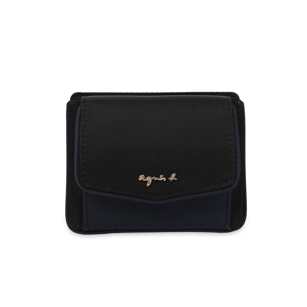 agnes b. Voyage 尼龍信封式零錢卡包(黑)