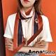 【滿額75折】AnnaSofia 條紋象影斜角 窄版緞面仿絲領巾絲巾圍巾(橘咖系) product thumbnail 1