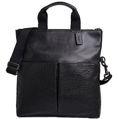 COACH 經典烙印LOGO編織款全皮革雙口袋直立式肩背/手提/斜背包-紳士黑