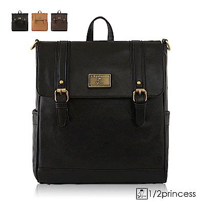 1/2Princess二代復古皮革經典雙扣文青三用背包-黑色[A2625-1](快)