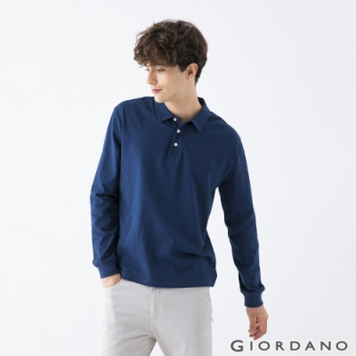 GIORDANO 男裝素色落肩POLO衫 - 03 深藍