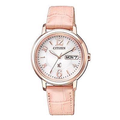 CITIZEN 星辰xC時尚玫瑰金藍寶石玻璃腕錶(EW2422-04A)