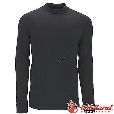 Wildland 荒野 W2652-54黑色 男遠紅外線保暖中領衛生衣