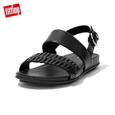 【FitFlop】GRACCIE WRAPPED WEAVE BACK-STRAP SANDALS 編織造型後帶涼鞋-女(黑色)