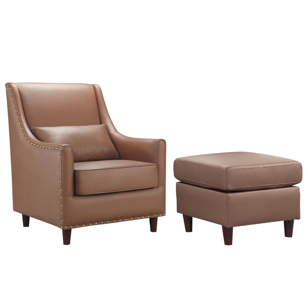 文創集 婓爾 時尚柔感乳膠皮革單人沙發椅/主人椅組合(四色可選+單人椅&腳椅等組合)-75x80x90cm免組