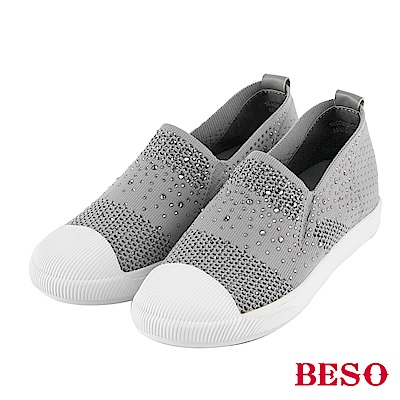 BESO 時尚樂活 燙鑽簍空飛織休閒鞋~灰