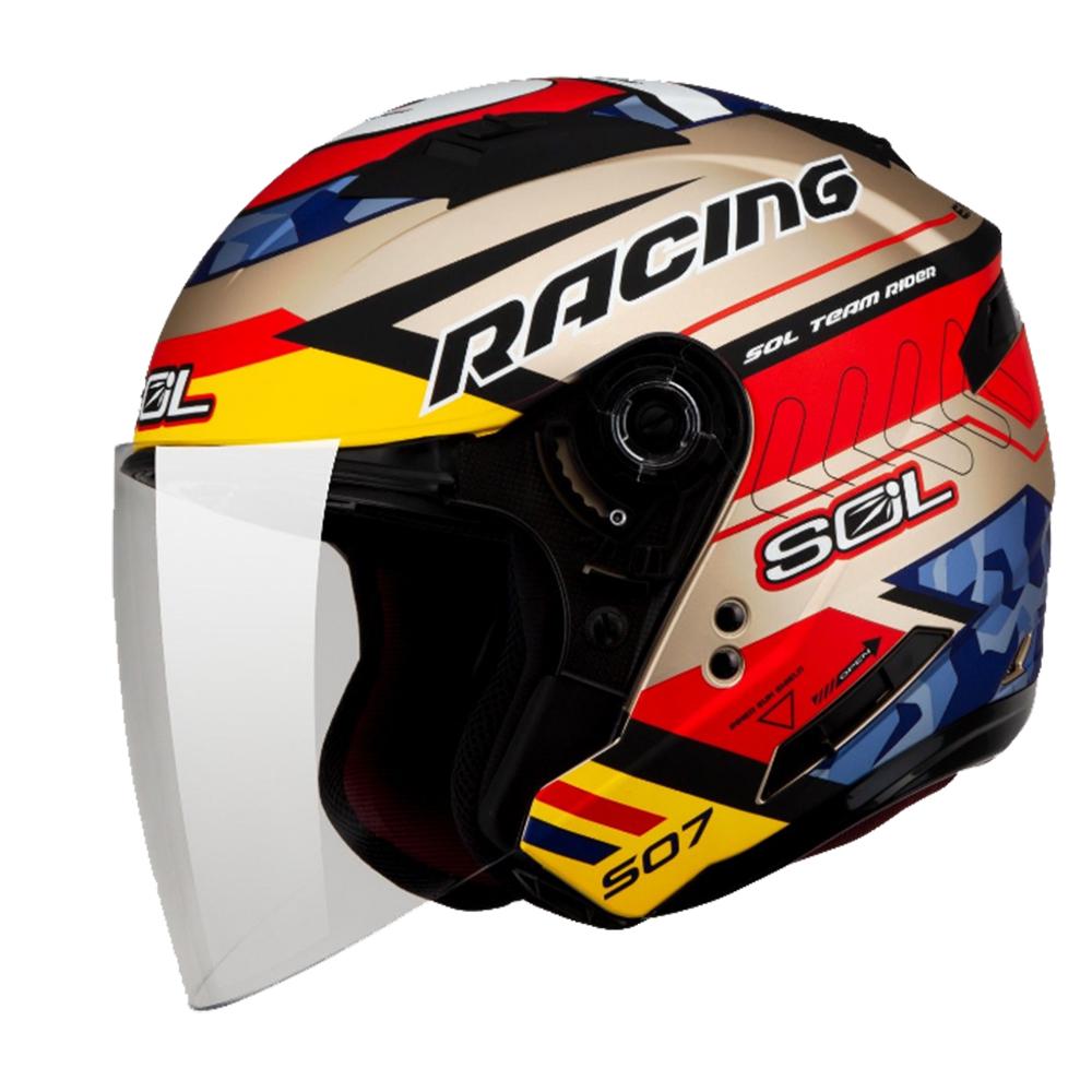 SOL SO-7  3/4  開放式安全帽 Racing 極速先鋒  (消光金)