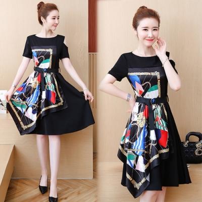 【韓國K.W.】時尚潮流拼接顯瘦印花洋裝-2色
