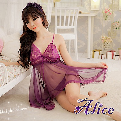 Alice性感蕾絲紫色透膚吊帶睡裙情趣內衣火辣(AK055)