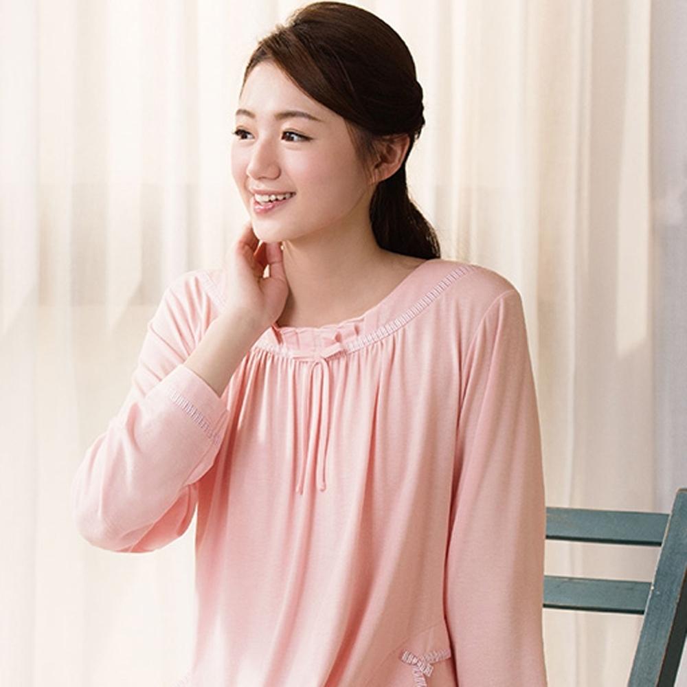 華歌爾睡衣-中空保暖紗 M-L 長袖裙裝(橘粉)
