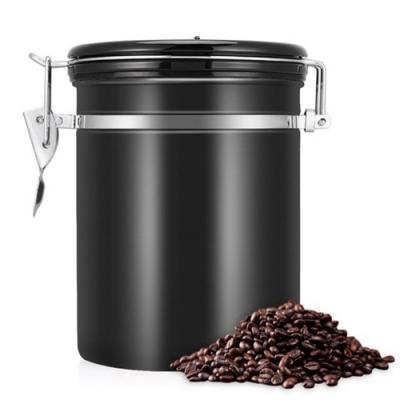 PUSH!居家生活用品304不銹鋼咖啡豆密封罐排氣閥密封儲物罐茶葉罐乾果咖啡罐帶勺I90黑色