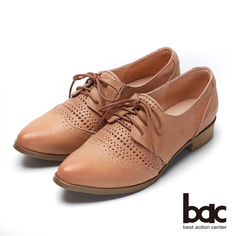 bac愛趣首爾-尖頭柔和雙色感沖孔牛津鞋-粉紅