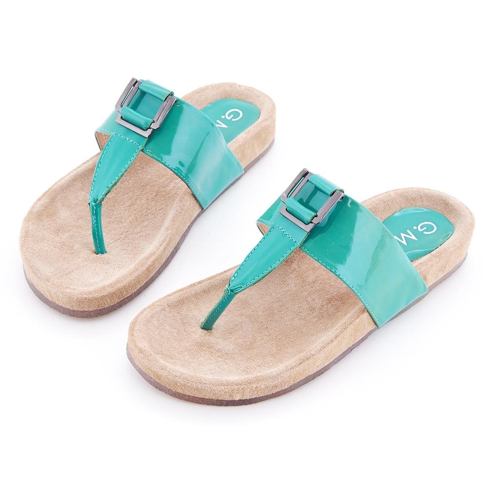 G.Ms. T字牛漆皮柏肯式夾腳平底涼拖鞋-薄荷綠