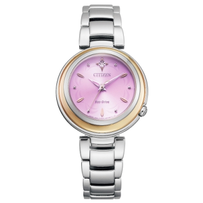 CITIZEN 星辰L系列光動能真鑽時尚手錶EM0588-81X-紫X銀/30mm