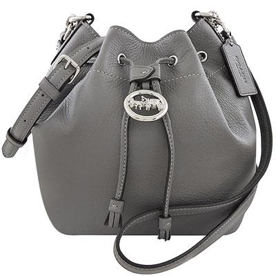 COACH 石墨灰色荔枝紋皮革斜背水桶包