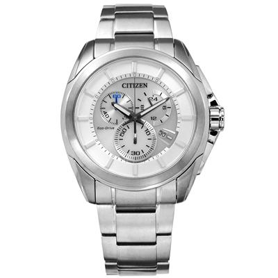 CITIZEN 星辰表 光動能三眼計時 防水100米不鏽鋼手錶-銀白色/43mm