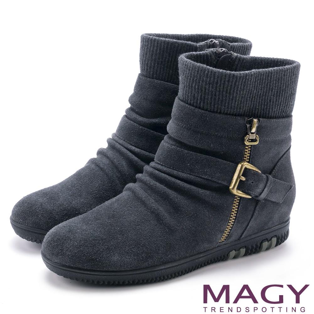 MAGY 暖冬時尚 扣環拉鍊平底麂皮內增高襪靴-灰色