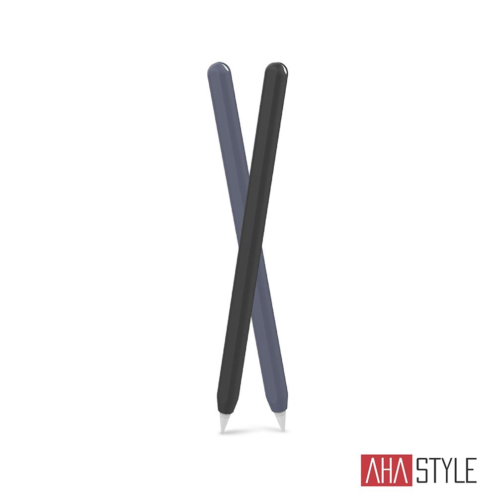 AHAStyle Apple Pencil 2代 筆套 超薄矽膠保護套 雙色2入 黑+午夜藍