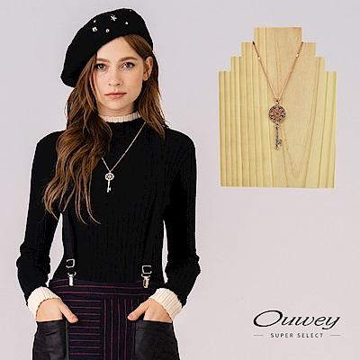 OUWEY歐薇 唯美愛情鑰匙鑲鑽項鍊(金)