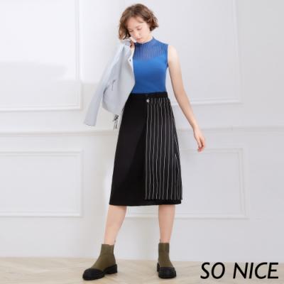 SO NICE時尚直紋裙片羅馬布長裙