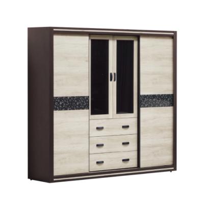 綠活居 黎巴嫩  現代6.8尺雙色推&開門五抽衣櫃/收納櫃-203x56x202cm免組