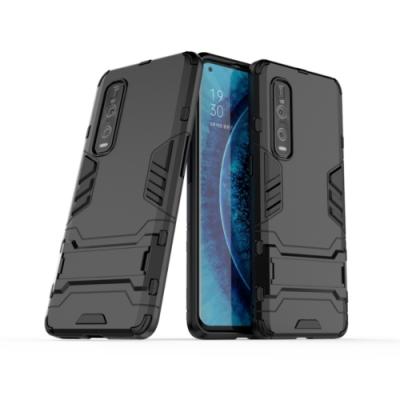 PKG OPPO Reno4  保護殼(內軟外硬+隱藏支架)2合1防護殼套-黑