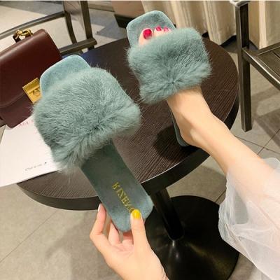 KEITH-WILL時尚鞋館 視覺個性絨毛一字拖-綠色
