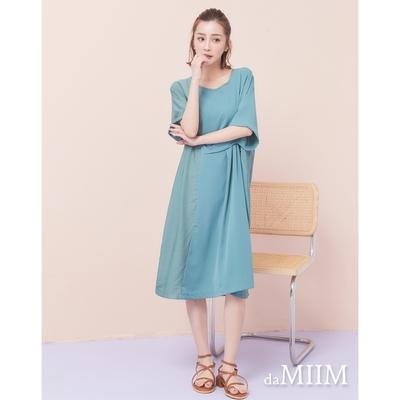 MIIM設計感不對稱抓皺連身洋裝-湖綠色